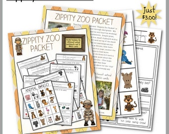 """Children's Zoo Packet for field trips and homeschool use """"Zippity Zoo"""" Worksheet"""