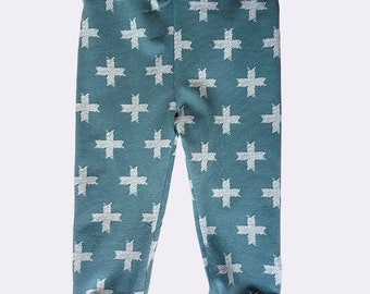 MIA - grow with me legging for babies - turquoise and grey
