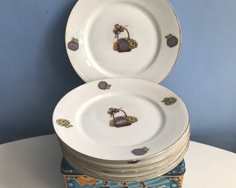 Six Astral Limoges Dessert Plates. Hydrangea Flowers Floral Basket Motif. Cheese Starter Side Salad Plates. French Tableware