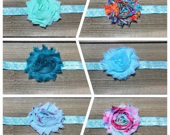 Shabby Flower Headband- Shabby Chic Headband; Baby Headband; Shabby Baby Headband; Rosette Headband; Flower Headband; Shabby Flower Headband
