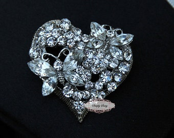 Rhinestone Brooch Embellishment - Flatback - Rhinestone Broach - Brooch Bouquet - Supply - Heart - Butterfly - Jewelry Supply - RD235