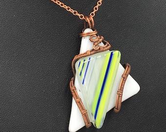 Fused Glass Triangle Pendant