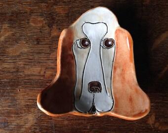 SPOON REST BASSETT Hound Stoneware Clay Handmade