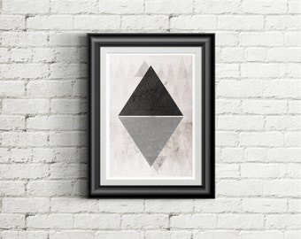 Minimalist Abstract Art, Geometric Print, Triangle Nordic art, home decor wall art