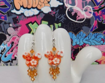 Mickey Mouse Orange Hawaiian Hibiscus Double Sided Print Dangle Earrings