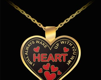 Husband in heaven necklace - Widow necklace - I Will Always Wake Up With You In My Heart Necklace - Gift idea