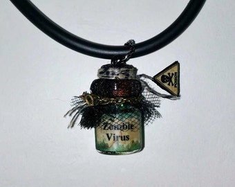Zombie Virus, Zombie Necklace,  Halloween Necklace, Halloween Jewelry, Free Shipping