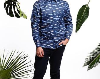 Handmade men's shark shirt, men's fish shirt