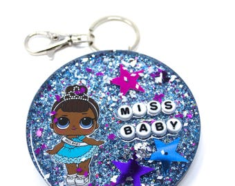 Custom Round Resin Key Chain Bag Charm