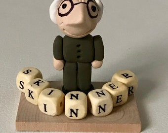 B.F. Skinner Art Doll Polymer Clay Miniature Figurine Psychology Counseling Therapy Research Science Graduate Graduation Gift