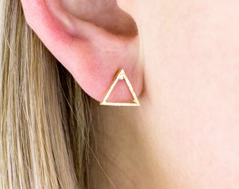 Gold Triangle Earrings, Triangle Studs, Gold Triangle Earring, Gold Dainty Earrings, Triangle Earrings, Geometric Earrings, Geo Earrings