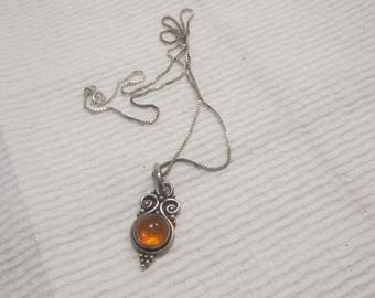 Sterling Sliver Necklace Amber And Sliver Pendant, 18 '' Silver Chain.