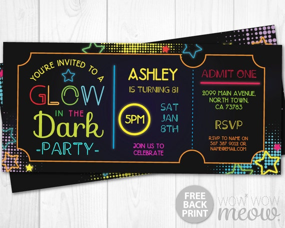 glow in the dark invitations dance tickets admit one party. Black Bedroom Furniture Sets. Home Design Ideas