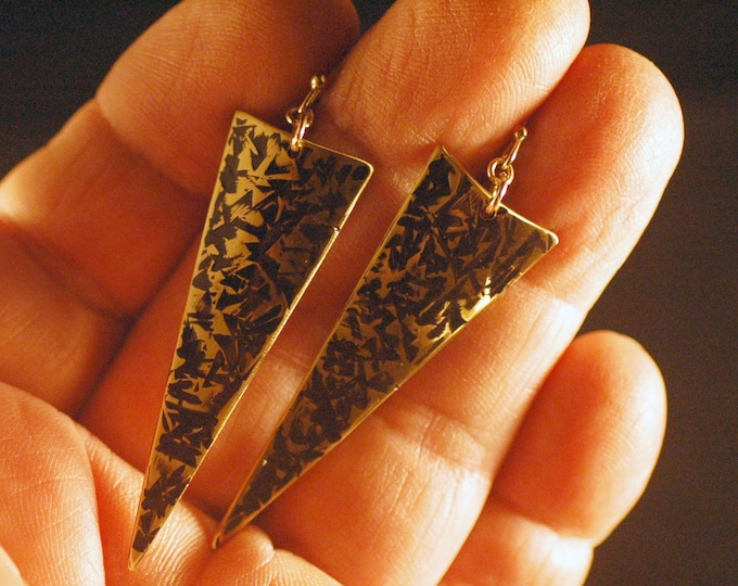 Nu Gold Earrings-Hand Forged Brass Earrings Hammered and Textured by Michael Ferreira on Etsy