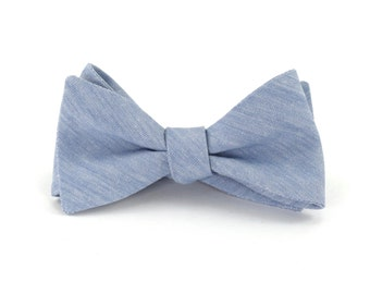 Dusty Blue Bow Tie, Mens Light Blue Chambray Tie, Dusty Blue Bow Tie, Wedding Bow Ties  - Traditional Self-Tie or Pre-Tied