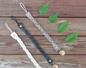 Leather braided pacifier holder with bronze or silver clip