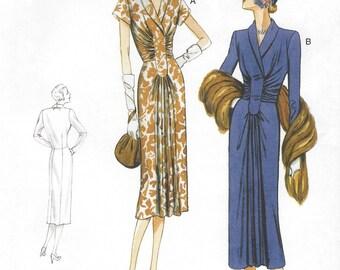 Womens 1940s Day Dress Ruched Dress OOP Vogue Sewing Pattern V9126 Size 14 16 18 20 22 Bust 36 38 40 42 44 UnCut Vintage Vogue Model