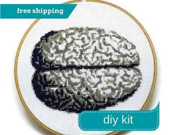 Anatomical Brain Cross Stitch Kit DIY - Everything You Need - Needlepoint Kit - 7 Inches