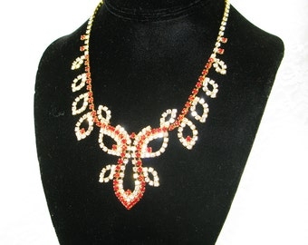 Czech Rhinestone Necklace - Pure Sophistication In A Goldtone Setting With Cherry Red and Clear Stones - Free U.S. Shipping!