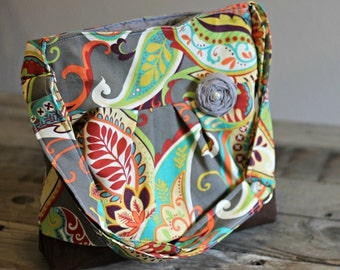 Concealed Carry Purse, Medium Messenger Bag, Paisley, Conceal Carry Handbag, Concealed Carry Purse, Conceal and Carry