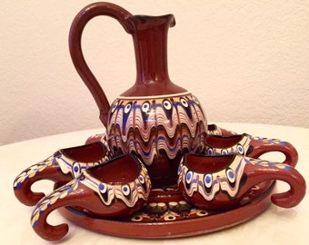 One of a kind beautiful vintage Italian picher and cups with a platter tray