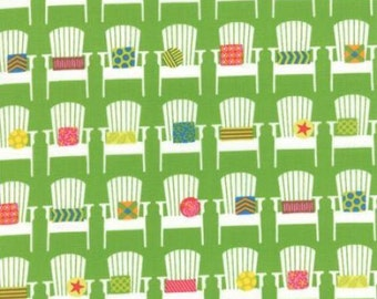 Moda Fabric - Sanibel by Gina Martin Cotton Fabric - 1/2 yard - 10031-18 Green with Beach Chairs