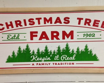 Christmas tree farm, keeping it real. Magnolia market. Painted wood sign. Chip & Joanna. Fixer upper.