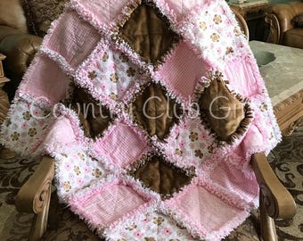 Baby rag quilt, baby blanket, baby gift, baby girl gift, baby shower gift, new baby gift, baby bedding, pink, brown, Flannel, Shabby Chic
