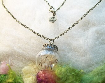 Real Dandelion Seed Wish Orb Necklace Dragonfly DandelionTerrarium Necklace, Natural Jewelry Real Organic Make A Wish Jewelry