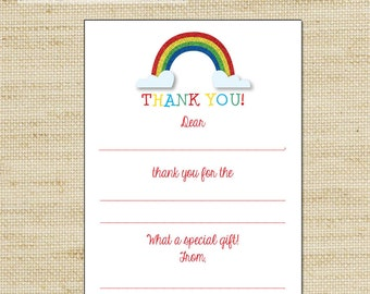 Rainbow Party Thank You Cards, Fill In The Blank Thank You Cards, FREE SHIPPING Note Cards With a Glitter Rainbow