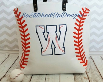 Canvas Baseball Tote bag!Embroidered/ Personalized and ready for those ballfield days!