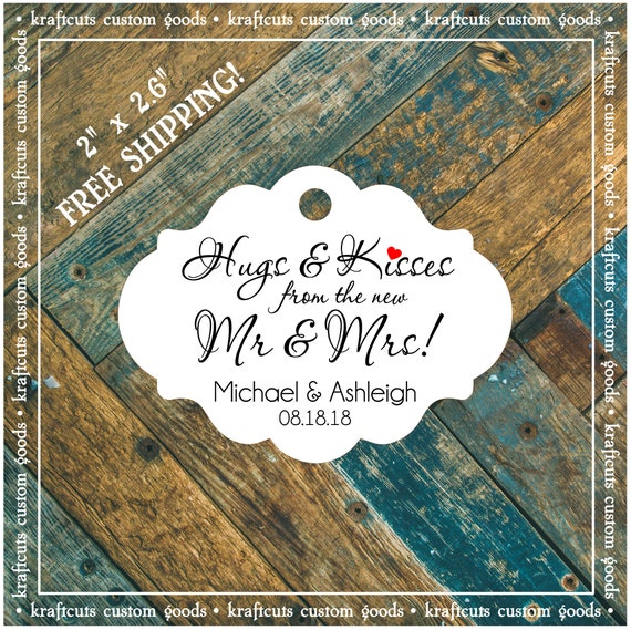 Personalized Hugs and Kisses Wedding Reception Favor Tags # 792 FREE SHIPPING!