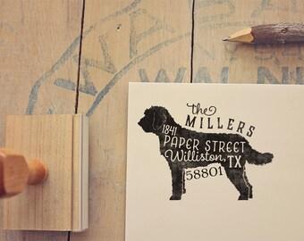 Labradoodle Return Address Stamp, , Housewarming & Dog Lover Gift, Personalized Rubber Stamp, Wood Handle, Goldendoodle Stamp