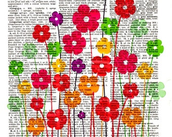 Flowers Popart...Dictionary Art Print,Vintage Poster,Digital,drawing,Gift ideas,Wall Office decor,Kitchen room bar,Home & Living,Mixed Med