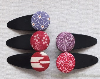 Hair Accessories Fabric Button Large Hair Clips Barrettes-Japanese Kimono Geometry Arrow Red Purple Asanoha Floral(1PCS, Choose Pattern)