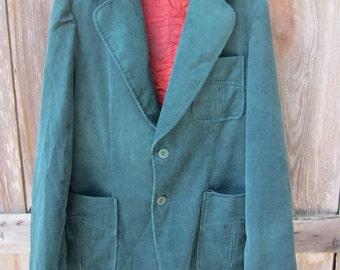 SALE 70s/80s Green Corduroy Sport Coat by Spatz, Men's L // Vintage Single-Breasted Jacket