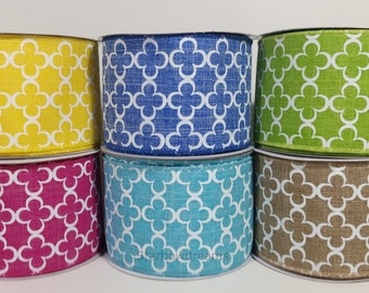 "2 1/2"" Canvas Quatrefoil Ribbon 10 Yards"