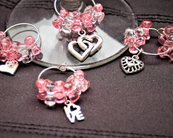 Set of 4 Hearts & Love Wine Glass Charms
