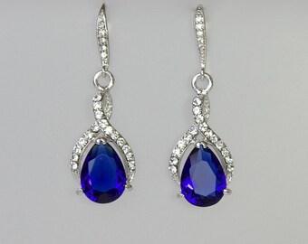 Blue Bridal Earrings, Sapphire Crystal Earrings, Something Blue, Wedding Jewelry, Blue Bridesmaids Earrings, Sapphire RIBBON TWIRL
