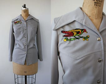 vintage 1970s western shirt / 70s embroidered button down shirt / 70s gray bird blouse / 70s embroidered western shirt / large XL plus size
