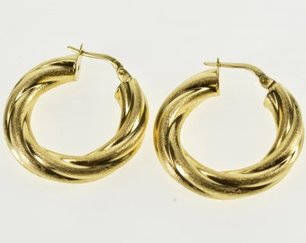18K Brushed Finish Rounded Twist Spiral Hoop Earrings Yellow Gold