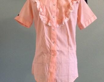 Vintage Peach 1970s Rockmount Ranch Wear