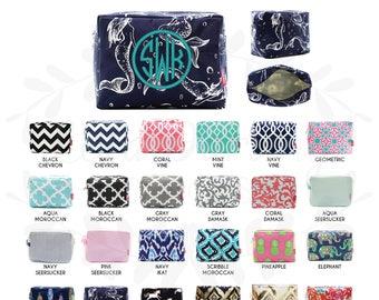 Monogram Cosmetic Bag/makeup bag/pencil case/zipper pouch