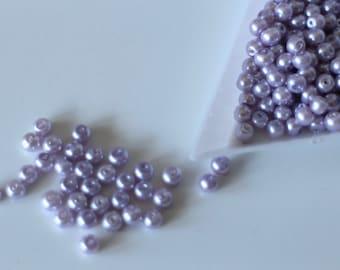 perles lampwork 8mm 10pc verre murano ronde violet feuille d/'argent //4