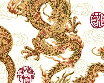 FIRE-BREATHING DRAGONS: White Asian Japanese Fabric (By the Yard)