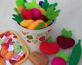 Felt Vegetables set Felt food vegetables Felt vegetables Vegetable Garden Felt food Play food Toy food Play kitchen Pretend play Kids gift