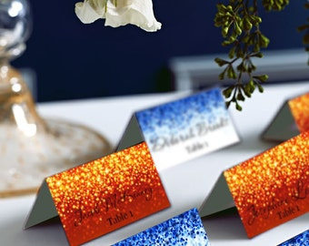 Fire and Ice, Red and Blue Sparkle Wedding Place Cards, Place Card, DIY Place Card Printable