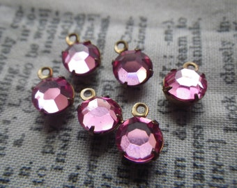 Rose Pink Vintage Swarovski Round Chaton SS30 6mm Glass Brass Ox Drops One Loop 6 Pcs