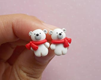 Polar Bear earrings Winter Earrings Stud earrings Christmas gift Secret Santa gift Holiday jewelry Xmas earrings
