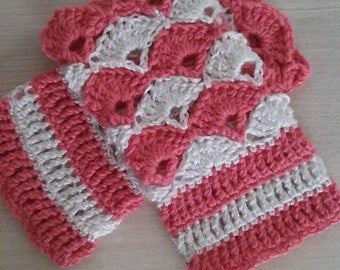Handmade arm warmers, pink and white wool